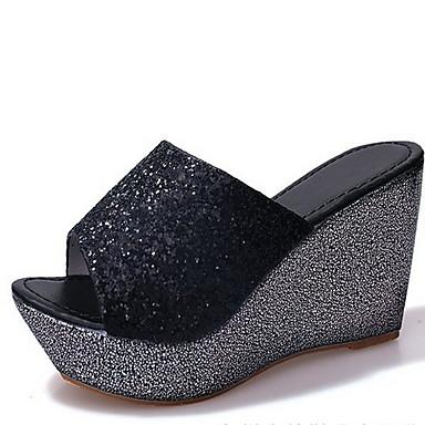 povoljno Ženske cipele-Žene Sandale Wedge Heel Peep Toe Lan Ljeto Crn / Zlato / Srebro