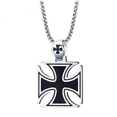 voordelige Dames Sieraden-Heren Hangertjes ketting Klassiek Kruis Vintage Roestvast staal Zilver 60 cm Kettingen Sieraden 1pc Voor Lahja Dagelijks
