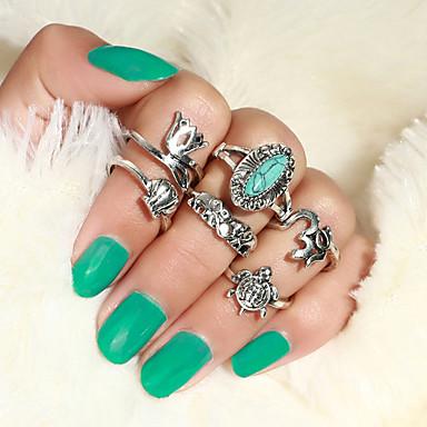 billige Motering-Dame Ring Ring Set 6pcs Gull Sølv Legering Annerledes Vintage trendy Etnisk Gave Daglig Smykker Vintage Stil Elefant Slange Skilpadde