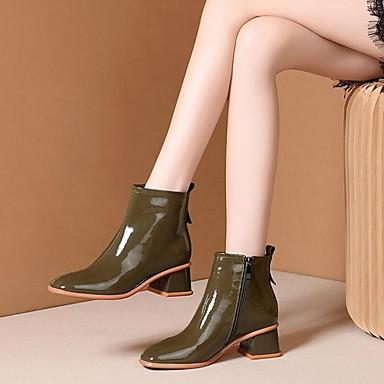 voordelige Dameslaarzen-Dames Laarzen Blok hiel Gepuntte Teen Leer / Nappaleer Kuitlaarzen Herfst winter Zwart / Beige / Khaki