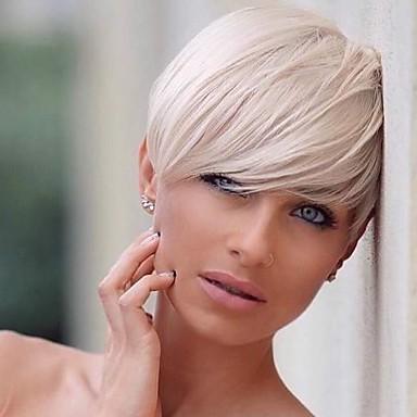 povoljno Perike i ekstenzije-Ljudski kose bez kaplama Ljudska kosa Ravan kroj Pixie frizura / Kratke frizure 2019 Stil Stražnji dio Machine Made Perika Žene