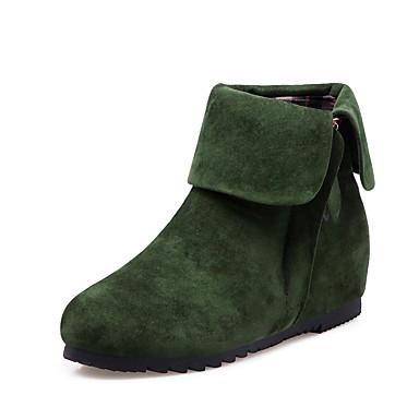 voordelige Dameslaarzen-Dames Laarzen Verborgen hiel Ronde Teen PU Korte laarsjes / Enkellaarsjes Vintage / minimalisme Lente & Herfst / Herfst winter Zwart / Groen / Rood