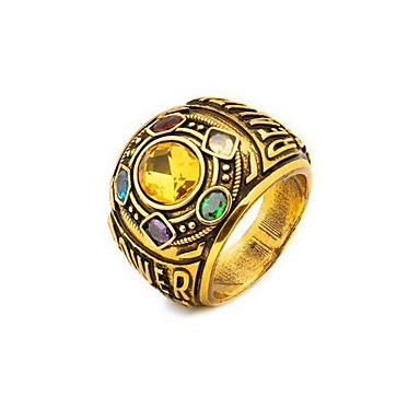 voordelige Herensieraden-Heren Bandring Ring 1pc Goud Koper Verzilverd Glas Geometrische vorm Vintage Modieus Dagelijks Straat Sieraden Vintagestijl Kostbaar Cool