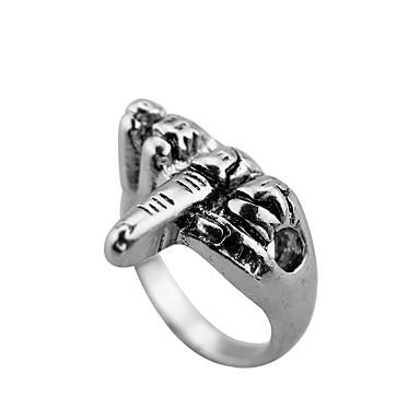 voordelige Herensieraden-Heren Ring 1pc Zilver Titanium Staal Rond Casual / Sporty Dagelijks Sieraden Vintagestijl Bloem Schattig