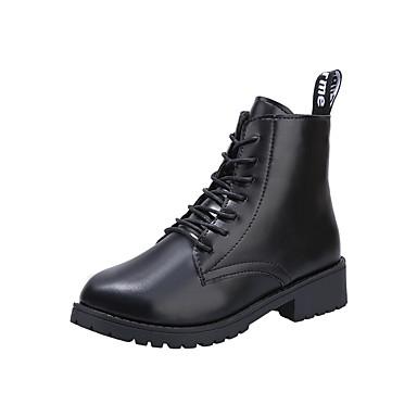voordelige Dameslaarzen-Dames Laarzen Sleehak Ronde Teen PU Lente & Herfst / Herfst winter Zwart