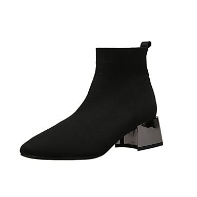 voordelige Dameslaarzen-Dames Laarzen Blokhak Vierkante Teen Satijn / Tissage Volant Kuitlaarzen Chinoiserie / Brits Herfst winter Zwart