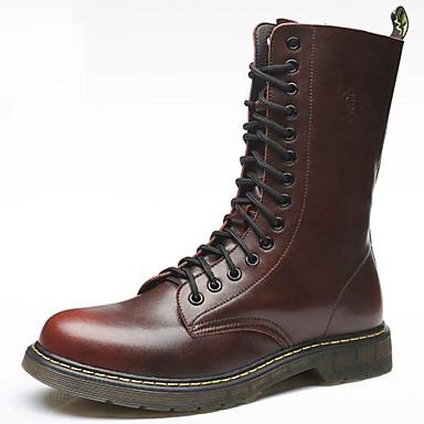 voordelige Dameslaarzen-Dames Laarzen Platte hak Ronde Teen Leer Kuitlaarzen Klassiek / Vintage Winter / Herfst winter Zwart / Bruin / Wijn