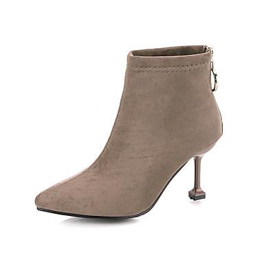 voordelige Dameslaarzen-Dames Laarzen Kleine hak Gepuntte Teen PU Kuitlaarzen minimalisme Herfst Zwart / Khaki