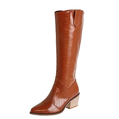 voordelige Dameslaarzen-Dames Laarzen Blokhak Gepuntte Teen Kanten stiksel PU Over de knie laarzen Informeel Wandelen Herfst winter Zwart / Bruin