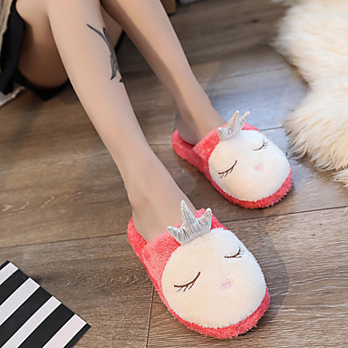 voordelige Damespantoffels & slippers-Dames Slippers & Flip-Flops Platte hak Ronde Teen Imitatiebont Zoet Winter Rood / Roze / Grijs