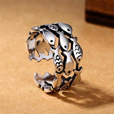voordelige Herensieraden-Heren Open Ring Verstelbare ring 1pc Zilver Koper Verzilverd Geometrische vorm Vintage Modieus Dagelijks Straat Sieraden Vintagestijl Vissen Kostbaar Cool