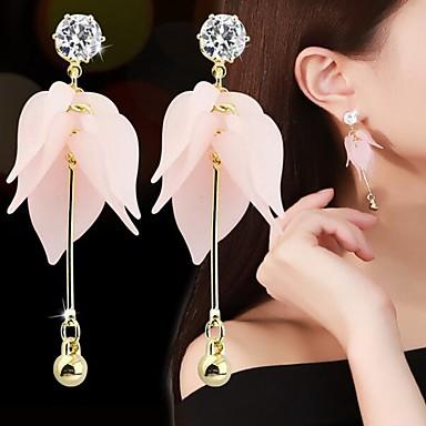 voordelige Dames Sieraden-Dames Druppel oorbellen 3D Bloemblad Romantisch Elegant Hars Gesimuleerde diamant oorbellen Sieraden Roze Voor Dagelijks