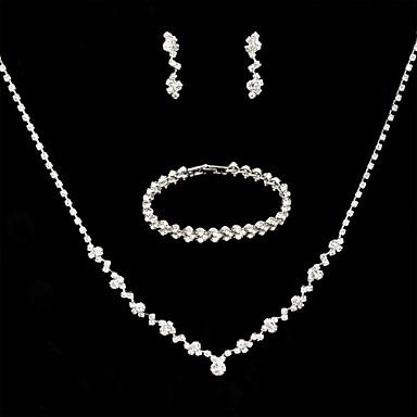 voordelige Dames Sieraden-Dames Ketting Oorbel Armband Tennis ketting Eenvoudig Luxe Europees Modieus Elegant Gesimuleerde diamant oorbellen Sieraden Zilver Voor Bruiloft Feest Verloving Lahja Dagelijks 3
