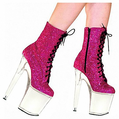 voordelige Dameslaarzen-Dames Laarzen Naaldhak Ronde Teen PU Korte laarsjes / Enkellaarsjes Brits Herfst winter Zwart / Fuchsia / Feesten & Uitgaan
