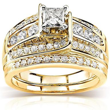 voordelige Dames Sieraden-Dames Ring Kubieke Zirkonia 3 stuks Goud Verguld Geometrische vorm Modieus Dagelijks Feestdagen Sieraden meetkundig Ster Cool