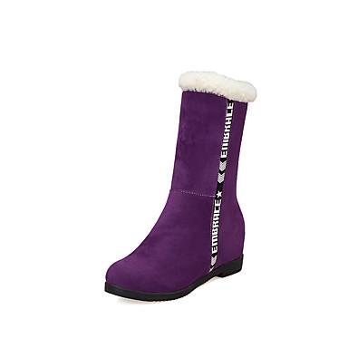voordelige Dameslaarzen-Dames Laarzen Verborgen hiel Ronde Teen Synthetisch Kuitlaarzen Informeel Winter Zwart / Paars / Groen / leuze