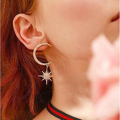 voordelige Dames Sieraden-Dames Kubieke Zirkonia Oorbel meetkundig MOON Stijlvol Verzilverd oorbellen Sieraden Gouden / Goud Rose / Wit Voor Lahja Dagelijks 1 paar