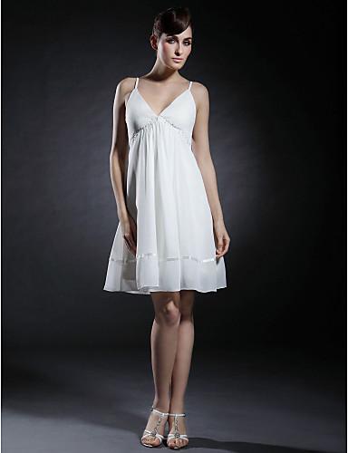 Ballkleid V-Ausschnitt / Spaghetti-Träger Kurz / Mini Chiffon / Stretch - Satin Kleid mit Perlenstickerei / Drapiert durch TS Couture®