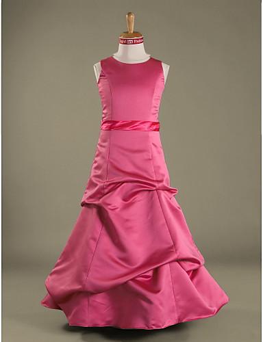 Γραμμή Α / Πριγκίπισσα Με Κόσμημα Μακρύ Σατέν Φόρεμα Νεαρών Παρανύμφων με Φούστα με πιασίματα / Ζώνη / Κορδέλα με LAN TING BRIDE® / Άνοιξη / Φθινόπωρο / Χειμώνας / Μήλο / Κλεψύδρα