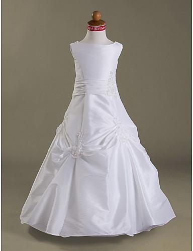 A-Line Princess Floor Length Flower Girl Dress - Taffeta Sleeveless Jewel Neck with Appliques by LAN TING BRIDE®