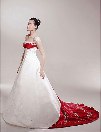 A-Line Princess Off Shoulder Chapel Train Satin Custom Wedding Dresses with Appliques Draping by LAN TING BRIDE®