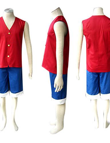 povoljno Anime kostimi-Inspirirana One Piece Monkey D. Luffy Anime Cosplay nošnje Japanski Cosplay Suits Kolaž Bez rukávů Mellény / Kratke hlače Za Muškarci