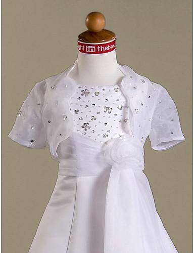 mangas curtas de organza casaco da menina de flor do casamento wrap / (70272)