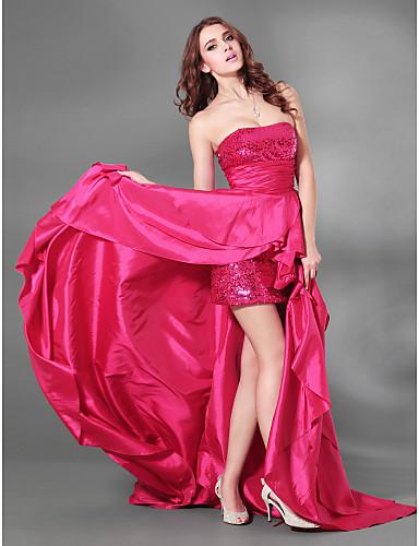 Linha A Sem Alças Cauda Corte Tafetá Paetês Coquetel / Evento Formal Vestido com Fenda Frontal de TS Couture®