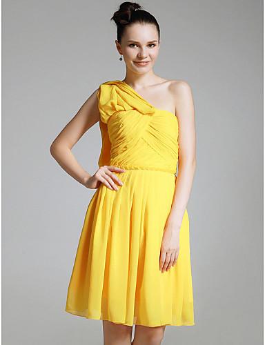 billige Bryllup- & Eventsalg-Tube / kolonne Enskuldret Knelang Chiffon Kjole med Kryssdrapering / Plissert av TS Couture®