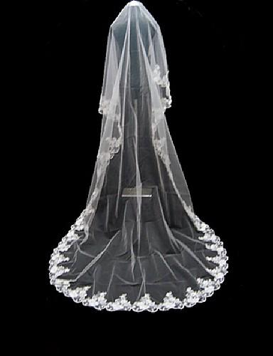 En-lags Blonderet Kant Bryllupsslør Katedral Slør Med Applikation 220,47 tommer (560cm) Tyl A-linje, Balkjole, Prinsesse, Kappe / Række,