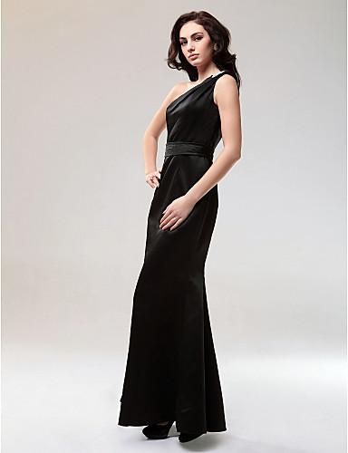 Sirena kroj Na jedno rame Do poda Saten Formalna večer Svečana priredba Haljina s Kristalni detalji po TS Couture®
