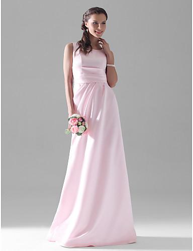 billige Lange brudepikekjoler-A-linje Scoop Neck Gulvlang Sateng Brudepikekjole med Sidedrapering av LAN TING BRIDE®