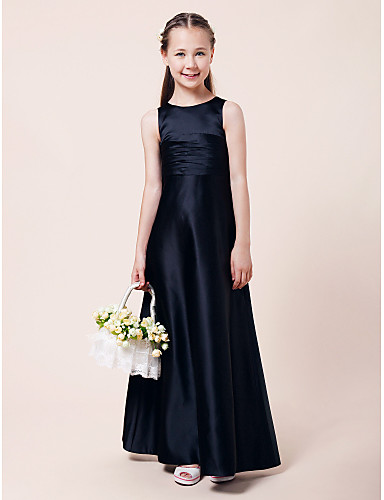 A-Line Princess Jewel Neck Floor Length Satin Junior Bridesmaid Dress with Draping Ruched by LAN TING BRIDE®