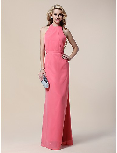 Sheath / Column Halter Floor Length Chiffon Formal Evening / Military Ball Dress with Sequin Pleats by TS Couture®