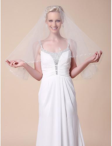 One-tier Elbow Wedding Veils With Cut Edge