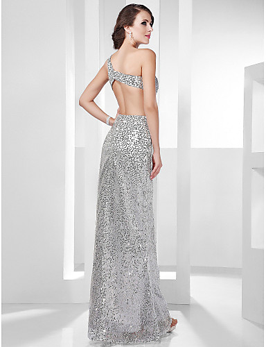 Sheath / Column One Shoulder Floor Length Sequined Formal Evening / Military Ball Dress with Side Draping by TS Couture®