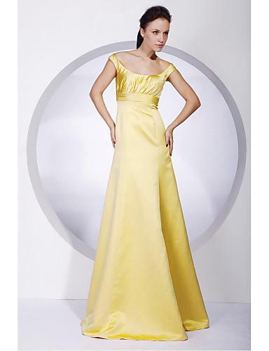 Corte en A Princesa Hombros Caídos Hasta el Suelo Satén Vestido de Dama de Honor con Recogido por LAN TING BRIDE®