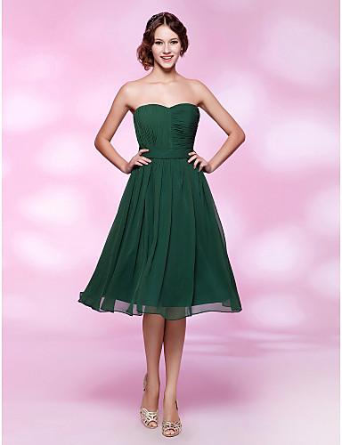 billige Feriekjoler-A-linje Kjære Knelang Chiffon Kjole med Belte / bånd av TS Couture®