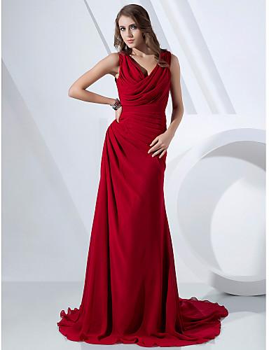 Ίσια Γραμμή Λαιμόκοψη V / Με σούρα στο λαιμό Ουρά Σιφόν Επίσημο Βραδινό Φόρεμα με Πλαϊνό ντραπέ / Χιαστί με TS Couture®