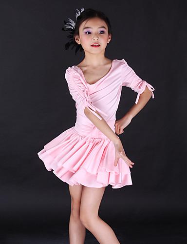 Dansetøj til børn / Ballet Kjoler Træning Spandex Halvlange ærmer / Latin Dans