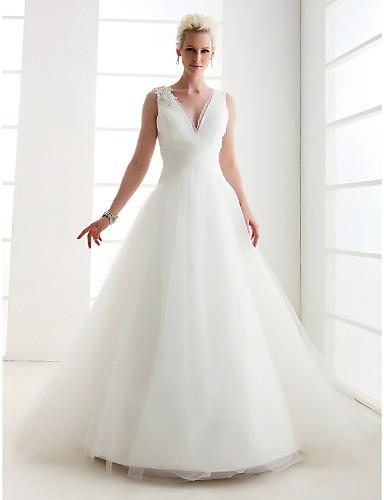 Princess v neck floor length tulle wedding dress with for Wedding dress shipping box
