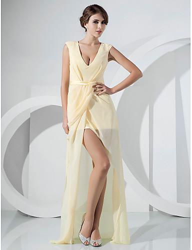 Eng anliegend V-Ausschnitt Boden-Länge Asymmetrisch Chiffon Formeller Abend Kleid mit Schärpe / Band Vorne geschlitzt Seitlich drapiert