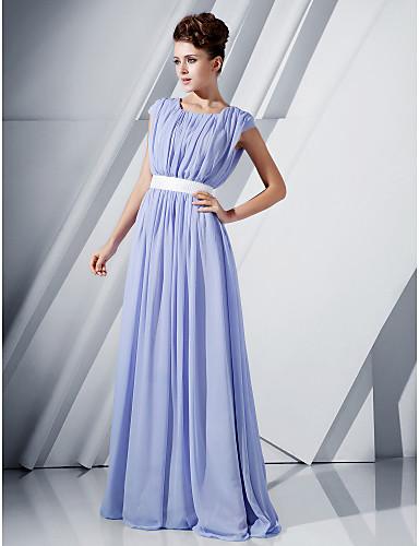 A-Şekilli Scoop Boyun Yere Kadar Şifon Payet / Kurdeleler ile Resmi Akşam / Askeri Balo Elbise tarafından TS Couture®