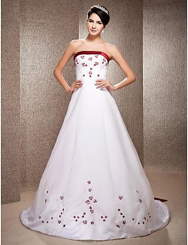 Linha A Princesa Sem Alças Cauda Capela Cetim Vestidos de noiva personalizados com Miçangas Bordado de LAN TING BRIDE®