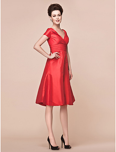 A-Line V Neck Knee Length Taffeta Mother of the Bride Dress with Ruched Criss Cross by LAN TING BRIDE®