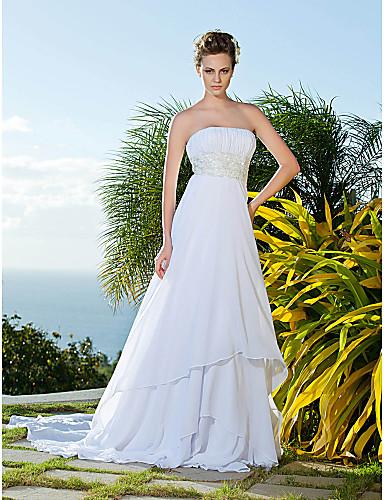 Eng anliegend Trägerlos Kirchen Schleppe Chiffon Hochzeitskleid mit Perlenstickerei durch LAN TING BRIDE®
