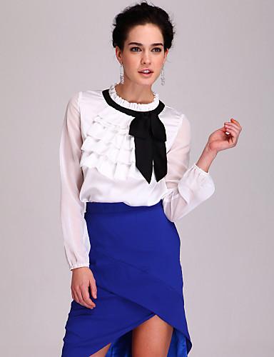 TS Side Bow Ruffle Satin Blouse Shirt