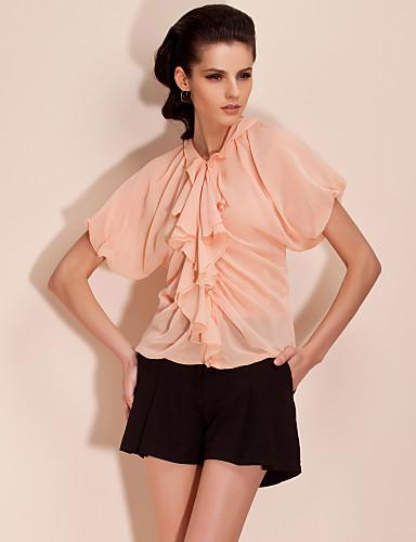 Dame - Ensfarvet, Drapering Krøllede Folder Bluse Polyester