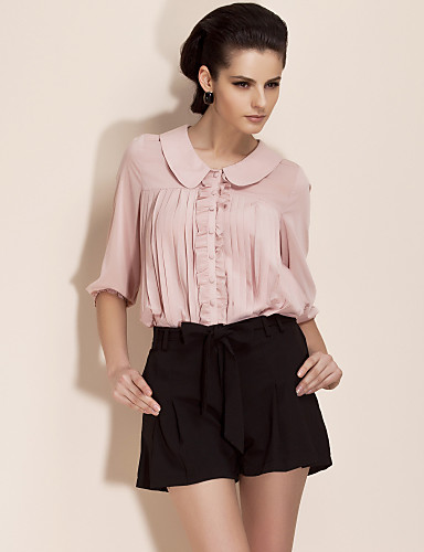 TS Round Collar Pleated Blouse Shirt (More Colors)