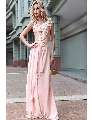 Sheath / Column One Shoulder Floor Length Satin Chiffon Formal Evening Military Ball Dress with Beading Draping Flower Ruched by